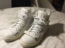 Giuseppie Zanotti  White Leather Italian  Double Zip Sneakers Euro 40