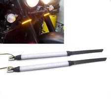 2x 25cm Motorrad Gabel Blinker Leiste Schwingarm Signal Lampe Gelb LED Universal