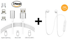 3IN1 Magnetic Micro USB/Type C/Lightning  Fast Charging Cable (FREE BT Earphone)