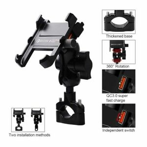 Motorcycle Phone Mount & QC 3.0 USB Quick Charger Mirror Handlebar Stand Holder