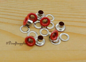 eyelets metal with washer grommets red round 100 sets 4 mm AC72A