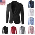 US Men's Casual Business Slim Fit Formal One Button Suit Blazer Coat Jacket Tops