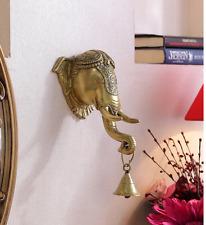 Brass Ganpati Ganesh Wall Hanging Statue Bell Elephant Bust Sculpture Diwali