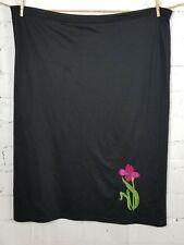 Quacker Factory Skirt plus size 2X black embroidered Flower elastic waist BF6
