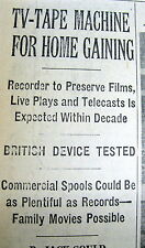 1963 NY Times newspaper INVENTION of the 1st VCR home TELEVISION VIDEO RECORDER