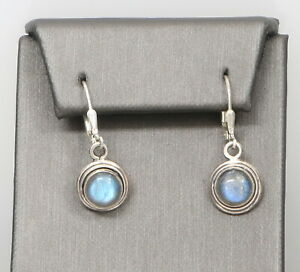 Vintage Sterling Silver Opal Cabochon Dangling Earrings 4.9 Grams