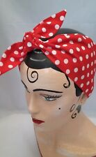 BLUE AND CREAM GINGHAM LAND GIRL 40s//50s Style Rockabilly Pin Up Head Scarf
