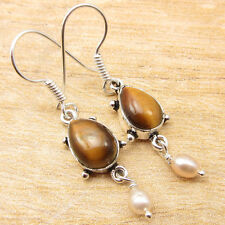 "Pearl Art Earrings 1 1/2"" Online Store 925 Silver Plated Amazing Tiger'S Eye &"
