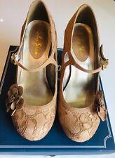 RUBY SHOO 'ELSY' Gold Lace Shoes - Size UK 5 (Euro 38)