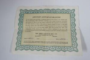 Vintage 1950s 1957 Gretsch 6117 Guitar Guarantee Certificate