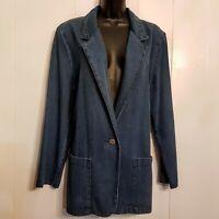 Lisa Josephs Denim Jacket size Medium Blue Single Button Cotton Blazer