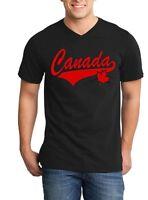 Red Canada Varsity Men V-Neck Canadian Pride Maple Leaf Canada Flag Shirts