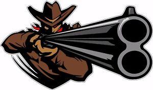 Outlaw Gun Slinger Shotgun Over Under Tool Box Bumper Sticker Vinyl Decal