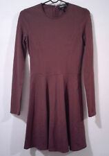 Women's Theory Dress Tillora Long Sleeve Ponte Fit Flare Burgundy Size 4 NWOT