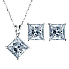 BONITO PLATA 925 Transparente Circonita Cristal Collar con colgante pendientes