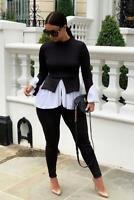 New Ladies Layered Puff Sleeve Frill Hem Blouse Jumper Two Piece Lounge Suit Set