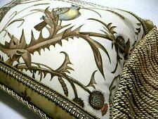 """Brunschwig Fils fabric, """"Bird Thistle"""" Toile Designer Pillow W/ insert"""