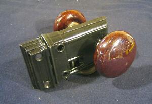 Antique Victorian Cast Iron Rim Knob Latch Brown Mineral Knobs - No.4026 Sargent