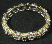Silver Gold Plated With Amethyst Swarovski Crystal Stretch Bracelet Intricate