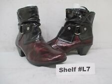 REMONTE Black Red Patent Leather Zip Ankle Boots Size 42 EUR
