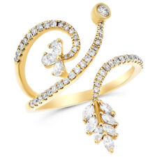 Finger Bypass Right Hand Cocktail Ring 14K Yellow Gold Pave Diamond Cluster Wrap