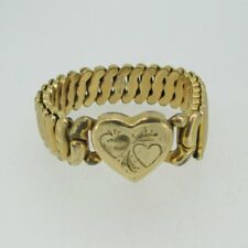 Vintage Gold Tone Etched La Mode Sweetheart Expandable Heart Bracelet