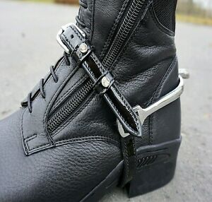 Kavalkade Crystal Detail Patent Leather Spur Straps