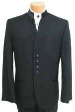 Men's Black Jean Yves Tuxedo Jacket Satin Mandarin Nehru Collar Beatles Band 40R