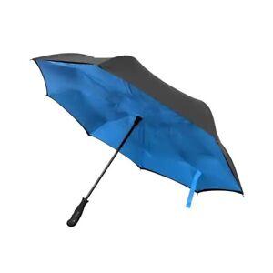 "BetterBrella Innovative Wind Proof Reverse Open/Close 41.5"" Wide Umbrella, Blue"