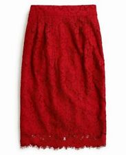 NWT  J. Crew Pintucked pencil skirt in lace Festive Red Tall 8 $98 F9298