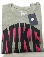 Nike Logo T-Shirt Grey Men's Top Tee Genuine