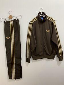 Adidas Originals ADI-Firebird Tracksuit Brown Gold Jacket Size 3XL Pants Siz 2XL