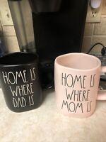 Rae Dunn New  MOM and DAD Black and Pink Coffee Cup/Mug Set