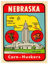 ORIGINAL VINTAGE TRAVEL DECAL NEBRASKA CORN HUSKERS MAP CAPITAL BUILDING LUGGAGE