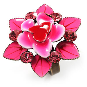 Deep Pink Crystal Enamel Cocktail Ring (Bronze Tone)