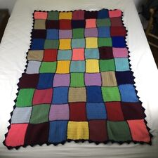Vtg 40x60 Crocheted Wool Afghan Multicolor Squares w Navy Blue Zigzag Border