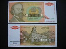 YUGOSLAVIA  5000000000 Dinara 1993  (P135a)  UNC
