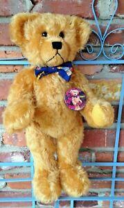 Vintage 1995 Hillbearies STUART Teddy Bear - Mohair, Bow Tie, Cute Round Belly!