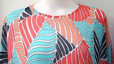 Allison Daley 22W Plus Blouse Shirt Elastic Hem Coral Turquoise Blue Leaf Lined