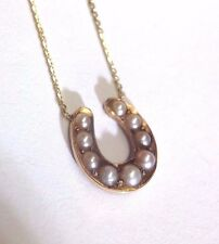 Sweet 14K Gold Victorian Split Seed Pearl Horseshoe Necklace