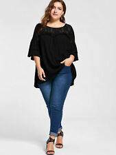 Women's Plus Size Lace Yoke Frill Tunic Top Longline Top Sheer Top 3/4 Sleeves