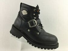 Womens Harley Davidson Motorcycle Boots Black Strap Buckle Lace Steel Toe Size 7