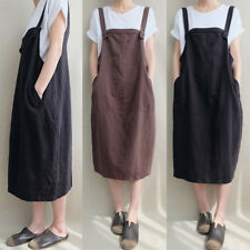 ZANZEA 8-24 Women Plus Size Overalls Bib Dungarees Boho Long Midi Cotton Dress