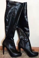 Jennifer Lopez Belle Over the Knee Zip Black Faux Leather Boots Platform Heel 10