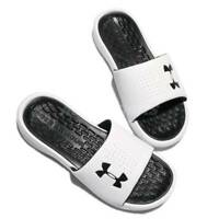 Under Armour Playmaker Fixed Women's Slides Sandals, White/Black 3000063 NEW!