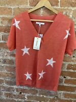 NEXT WOMENS PINK WITH WHITE STAR V-NECK SS CONTAIN LINEN SIZE M BNWT RRP £22