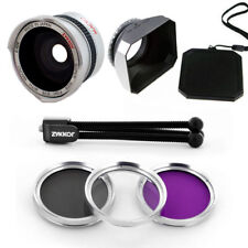 Wide Fish Eye Lens 0.42x,UV CPL FLD Filter,Hood for Canon Vixia HG21 HG20 HF21