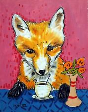 fox at the coffee shop animal art 8.5x11 glossy photo print new