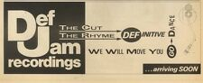 """4/1/86PGN12 ADVERT 4X11"""" THE DEF JAM RECORDINGS WE WILL MOVE YOU GO DANCE"""