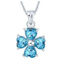 Lab Blue Topaz Lucky Heart Pendant 925 Sterling Silver Four Leaf Clover Necklace